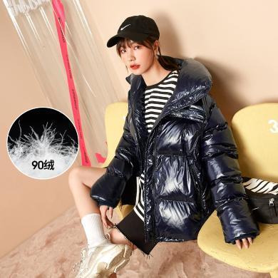 七格格亮面羽絨服女冬季2019新款韓版潮時尚寬松短款面包服外套厚