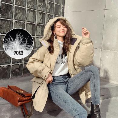 七格格工裝派克羽絨服女2019新款冬季韓版寬松中長款小個子外套潮