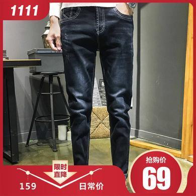 富貴鳥男裝2019秋冬新款牛仔褲休閑百搭款牛仔褲TP808