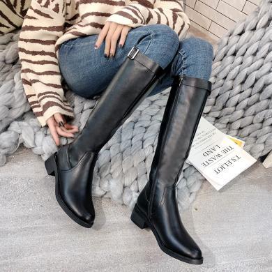 新款粗跟低跟长筒靴过欧美高筒靴女骑士靴DX-D92003