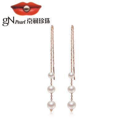 京潤珍珠伶俐 5-8mm圓形 S925銀鑲時尚淡水珍珠耳線耳飾 銀泰同款