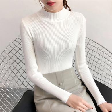 百依?#36424;?秋冬新款半高领女士毛衣内搭修身长袖洋气打底针织衫 4191
