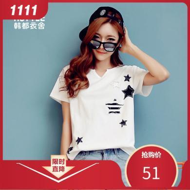 韓都衣舍2019夏裝新款女裝韓版貼布印花V領寬松短袖T恤JM9875蒖