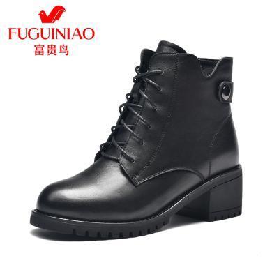 富贵鸟个性户外休闲加绒短靴女粗跟高跟靴 G99D781CC