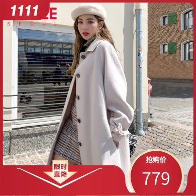 韩都衣舍2019秋季新款韩版女装中长款双面呢毛呢外套YK9927鲲