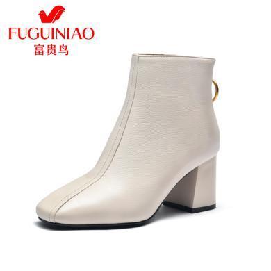 富贵鸟女靴保暖女鞋简?#21363;?#36319;时装靴短靴女 G99D806C