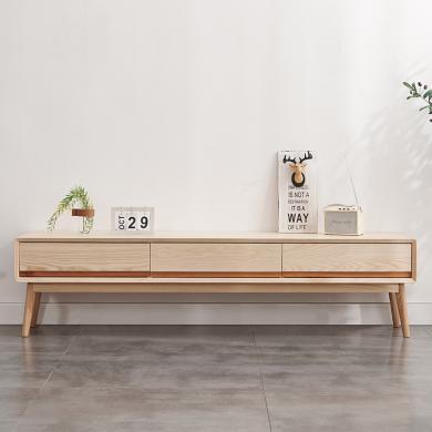 HJMM北欧风格白蜡木电视柜现代简约日式小户型客厅实木1.8m地柜