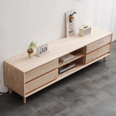 HJMM白蠟木北歐簡約現代電視柜1.5m原木環保客廳家具地柜矮地柜