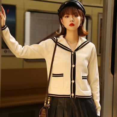 BANANA BABY2019秋新款韓版長袖海軍領學院風針織開衫外套女上衣D293WT826