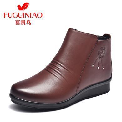 富貴鳥女靴保暖媽媽鞋中老年棉皮鞋厚底奶奶鞋 G994206CC