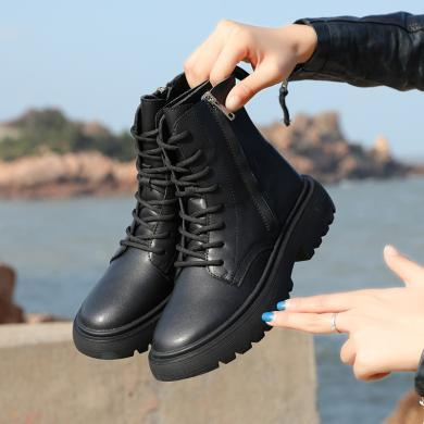 新款英倫風休閑短靴系帶潮流百搭馬丁靴學院風女靴MN9139(個碼數預售3天)