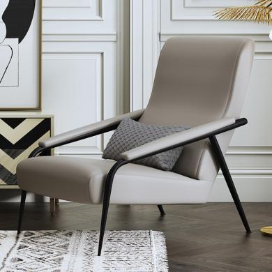 慕梵迪 休閑椅 實木框架+布藝+高回彈海綿+不銹鋼電鍍五金 AC013