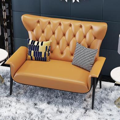 慕梵迪 休閑椅 現代輕奢 實木框架+皮+布+高回彈海綿+不銹鋼電鍍五金 T0016