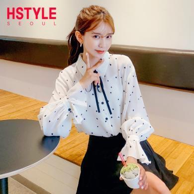 韓都衣舍2019夏裝新款女裝韓版白色寬松雪紡襯衫IG8558僥0612