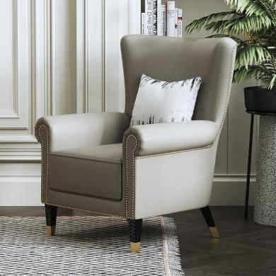 慕梵迪 休閑椅 現代輕奢 實木框架+優質超纖皮+高回彈海綿+不銹鋼電鍍五金 D1018