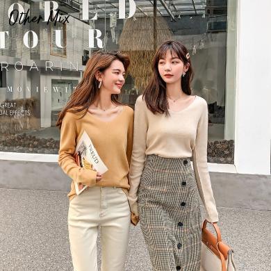 七格格針織上衣女長袖v領套頭衫2019新款冬季修身內搭毛衣打底衫