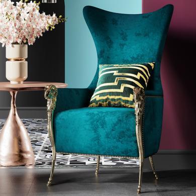 奢恩 单椅 现代轻奢 实木框架+高回弹海绵+绒布+五金脚 S-26
