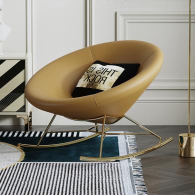 慕梵迪 搖椅 現代輕奢 超纖實木框架+高回彈海綿+超纖皮+五金腳皮 S-15