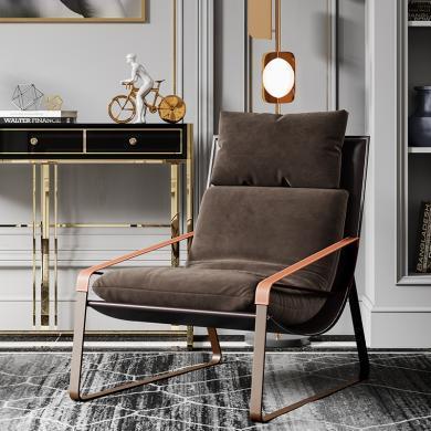 慕梵迪 休闲椅 现代轻奢 实木框架+优质布艺+高回弹海绵+五金脚 AC021
