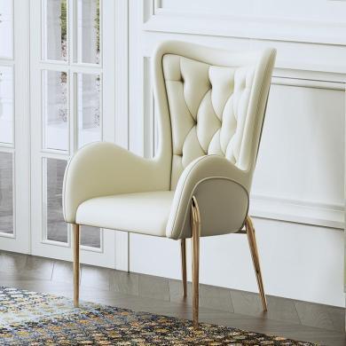 慕梵迪 休闲椅 现代轻奢 实木框架+优质超纤皮+高回弹海绵+不锈钢电镀五金 YX-001