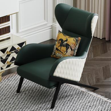 慕梵迪 休閑椅 現代輕奢 實木框架+優質超纖皮+高回彈海綿+不銹鋼電鍍五金 D1021