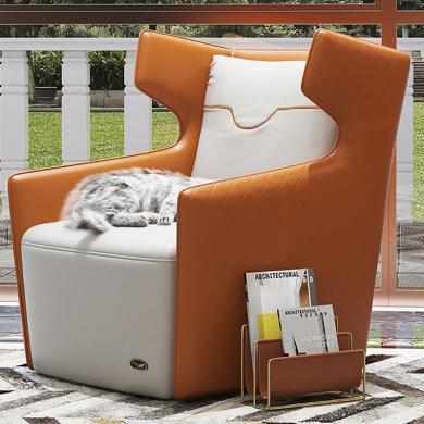 慕梵迪 休閑椅 現代輕奢 實木框架+真皮+高回彈海綿+不銹鋼電鍍五金 T0012