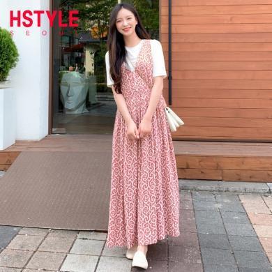 韓都衣舍2019夏裝新款韓版女收腰裙子兩件套時尚套裝HO0042魭