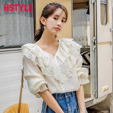 韓都衣舍2019韓版女裝夏裝新款寬松氣質娃娃領五分袖襯衫OK1454魭