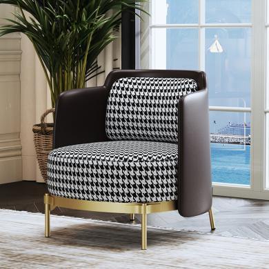 慕梵迪 休闲椅 现代轻奢 实木框架+优质布艺+超纤皮+高回弹海绵+五金脚  YX-035
