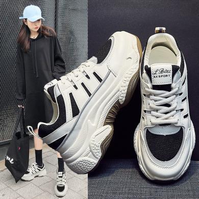 OKKOins網紅爆款女鞋新款厚底老爹鞋女運動街拍休閑潮鞋百搭熊貓鞋MS-M801