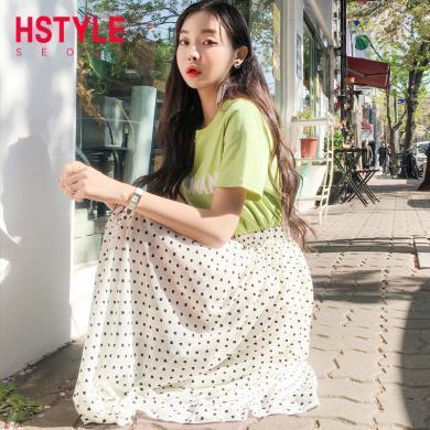 韓都衣舍2019夏新款韓女心機俏皮兩件套波點裙子套裝YK9953鯤