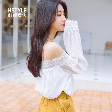 韩?#23478;?#33293;2019夏装新款韩版女气质蕾丝一字领宽松雪纺衫OM91023樰