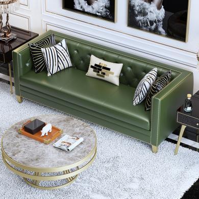 慕梵迪 沙发 现代轻奢 实木框架+高回弹海绵+皮+五金脚 D1002 沙发
