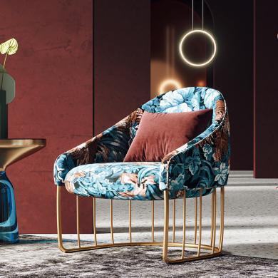 奢恩 休闲椅 现代轻奢 提花面料+高密度海绵+松木架+不锈钢 HW-05/S-37-1