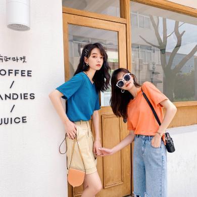 七格格純色t恤女2019新款夏季ins潮寬松心機小眾港味cec短袖上衣
