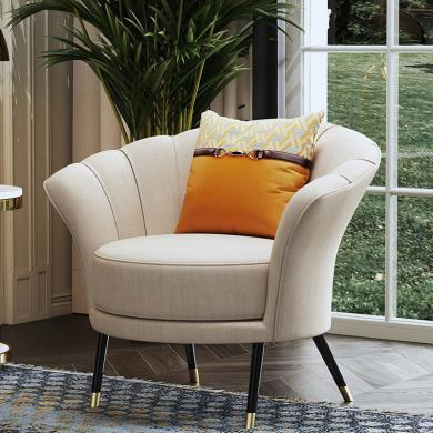 慕梵迪 休閑椅(布) 現代輕奢 實木框架+布藝+高回彈海綿+不銹鋼電鍍五金 D1019