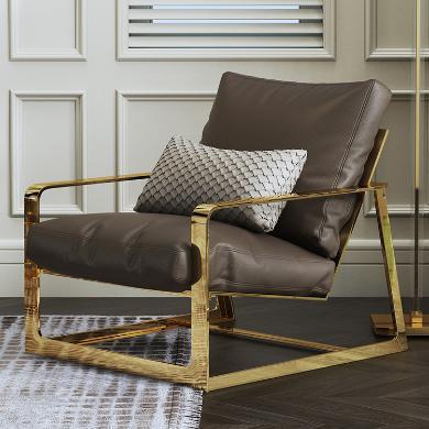 慕梵迪 休閑椅 現代輕奢 實木框架+優質超纖皮+高回彈海綿+不銹鋼電鍍五金 S0011