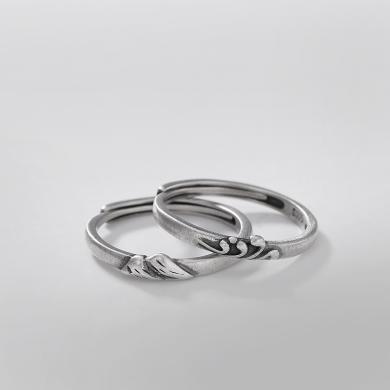 風下HrflyS925純銀戒指男女情侶款復古山盟海誓啞光個性簡約開口指環