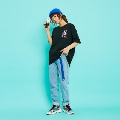 [IP聯名]韓都衣舍2019夏裝新款韓版女裝寬松情侶短袖T恤EB0092瓔