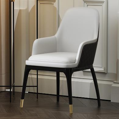 慕梵迪 餐椅 實木框架+超纖皮+不銹鋼五金 T0010