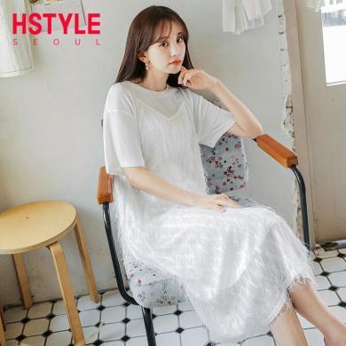 韩都衣舍2019新款韩版女装吊带仙女两件套短袖连衣裙OM90731樰