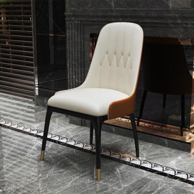 慕梵迪 单椅  现代轻奢 实木框架+超纤皮+高回弹海绵+不锈钢电镀五金 S0037/YX-066餐椅