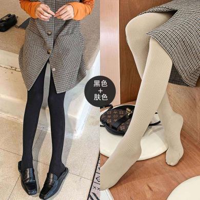 七格格女士冬季連褲襪子女兩雙裝2019新款韓版顯瘦加絨打底褲子潮
