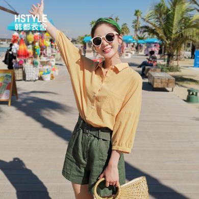 韩都衣舍2019韩版女装春装新款休闲chic蝙蝠袖七分袖衬衫NG9853茵