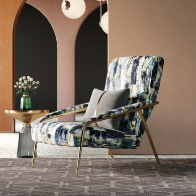 奢恩 休閑椅 現代輕奢 針織刺繡棉布+不銹鋼 HW-02/S-27