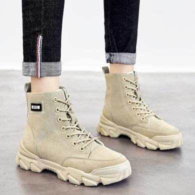 新款英倫風休閑短靴系帶潮流百搭馬丁靴工裝女靴YC1810