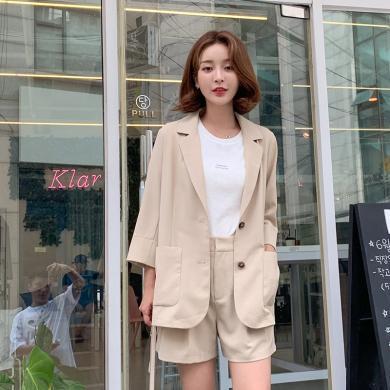 韓都衣舍2019夏裝新款韓版女裝氣質純色西服時套裝女PT9119禧0707