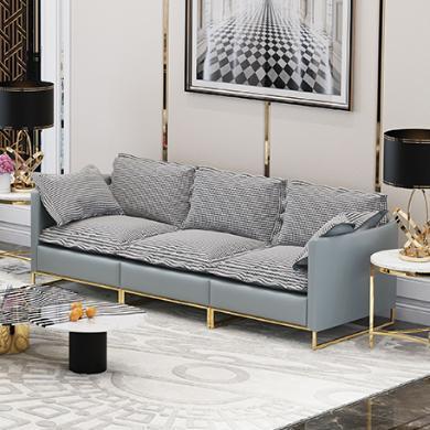 慕梵迪 沙發 現代輕奢 實木框架+高回彈海綿+布+五金腳 Q0002組合沙發