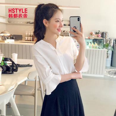 韓都衣舍2019夏裝新款女裝韓版寬松顯瘦V領短袖襯衫OM60108煜