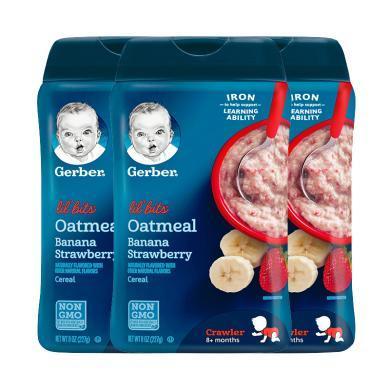 【支持購物卡】3盒*美國Gerber 嘉寶 嬰幼兒香蕉草莓燕麥米粉三段 227克 香港直郵
